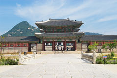 View to the entrance gate of the Gyeongbokgung Royal Palace in Seoul, Korea. Stock Images