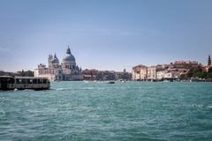 View to the entrance of the Grande Canale in Venice, Italy stock photography