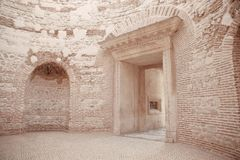 View to Entrance vestibule of the Diocletian`s palace peristyle. In old city center of town Split, Croatia.  Ancient roman landmark of Saint Domnius Royalty Free Stock Photos