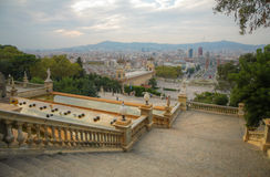 View to the Espanya Square in Barcelona, Spain Royalty Free Stock Images