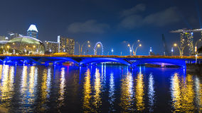 View to Esplanade Bridge and Singapore Flyer. Stock Images