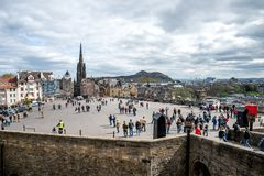 A view to Esplanade Square from Edinburgh Castle. A view to Esplanade Square, Edinburgh Military Tattoo venue, from castle wall stock photos