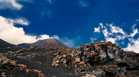 View to Etna volcano, climbing process, Sicily Italy Stock Photos