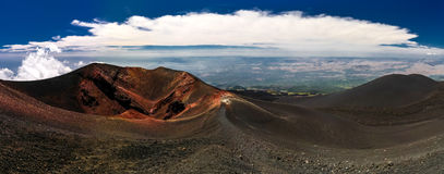 View to Etna volcano, climbing process, Sicily Italy Royalty Free Stock Photography