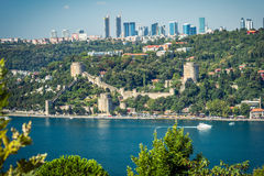 View to the European side of Istanbul and Rumeli hisari from Ota Royalty Free Stock Photos