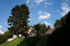 View to famous Fischburg in gardena Valley in south tyrol Stock Photo