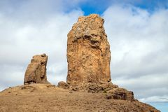 View to the famous Roque Nublo, Gran Canaria stock images