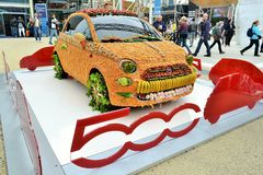 A view to the FIAT 500 car decorated with fruits and vegetables at the expo in Milan. Stock Images