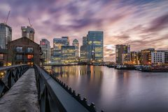 View to the financial district Canary Wharf on a stormy day, London. United Kingdom royalty free stock photography