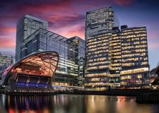 View to the financial district of London, Canary Wharf stock photography