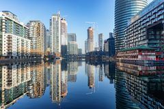 View to the financial skyscrapers of Canary Wharf in London, UK royalty free stock images