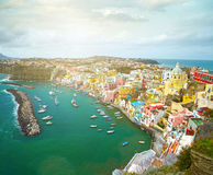 View to fishermanns village on the Island Procida Royalty Free Stock Image
