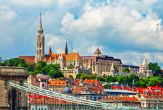 View to fishermans bastion in budapest city Royalty Free Stock Images