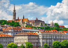 View to fishermans bastion in Budapest city Stock Photo