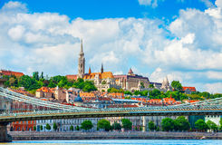 View to fishermans bastion in Budapest city Stock Images