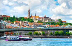 View to fishermans bastion in Budapest city Royalty Free Stock Photos