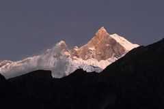 View to fishtail mountain from annapurna base camp Royalty Free Stock Photo