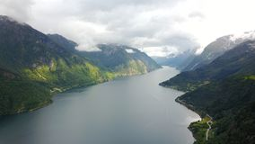 View to fjord and water from drone in Norway Royalty Free Stock Photo