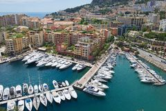 View to Fontvieille and Monaco Harbor in Monaco. Royalty Free Stock Photo