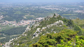 View to the fortress of the Moors, Sintra, Portugal. View to the mourish fortress from the Pena castle stock images