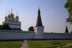 View to the fortress wall, towers and the Assumption cathedral from the lake side royalty free stock image