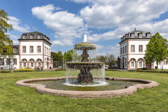 View to fountain in front of castle Phillipsruhe in Hanau Royalty Free Stock Images