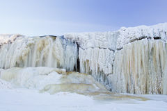 View to frozen waterfall Stock Images