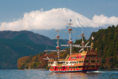 View to Fuji Mountain and Ashi Lake at Hakone region royalty free stock photography