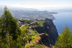 View to Funchal from higest cliff in Europe stock photo