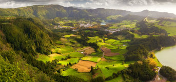 View to the Furnas city and valley. Aerial view to the Furnas city and valley, San Miguel island, Azores Royalty Free Stock Photo