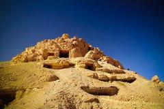 View to Gabal al-Mawta aka Mountain of the Dead, Siwa, Egypt. View to Gabal al-Mawta aka Mountain of the Dead in Siwa, Egypt royalty free stock image