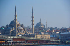 View to Galata Bridge with New Mosque in the background royalty free stock photo