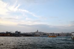 View to Galata district, Galata bridge across the Bay of Golden Horn. royalty free stock images
