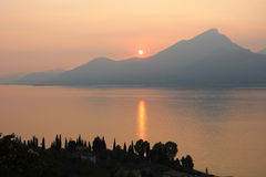 View to garda lake at sundown Royalty Free Stock Image