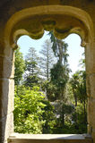 View to the garden in Quinta da Regaleira Stock Photo