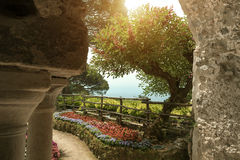 View to the garden at the villa in Ravello. Italy. Wonderful garden terrace of Villa Rufolo, Ravello. Ravello, Amalfi coast, Italy Royalty Free Stock Photo