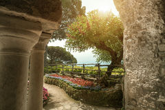 View to the garden at the villa in Ravello. Italy. Wonderful garden terrace of Villa Rufolo, Ravello. Ravello, Amalfi coast, Italy Stock Photo