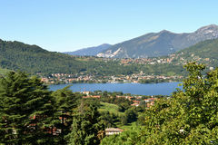 A view to Garlate lake and Calolziocorte. Royalty Free Stock Photos