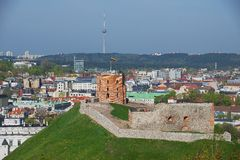 View to the Gediminas hill and Vilnius city in Vilnius, Lithuania. Royalty Free Stock Photography