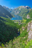 View to Geiranger fjord and eagle road, Norway Stock Images
