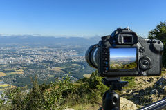 A view to Geneva with a camera Royalty Free Stock Image