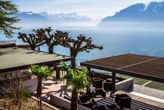 View to Geneva lake and Alpine mountains Royalty Free Stock Image