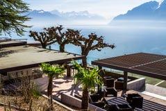 View to Geneva lake and Alpine mountains Stock Photo
