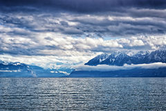 View to Geneva Lake and Montblanc region peaks from Losanne Royalty Free Stock Images