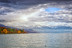 View to Geneva Lake near Losanne in winter Stock Image
