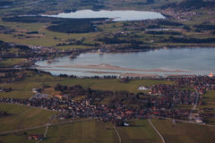 View to German villages and lakes, Fussen and Schwangau, Germany Stock Images