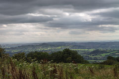 View to Glastonbury Tor. View from Dear Leap in Somerset on a stormy day Stock Photos