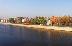 View to the golden mile quay in Moscow city center Royalty Free Stock Images