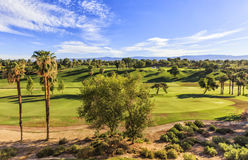 View to the Golf Club in Palm Springs, California. View to the dummy green golf fields, located at Golf Club in Indian Wells at Palm Springs area, California Royalty Free Stock Photo