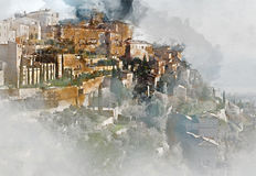 View to the Gordes, is a very beautiful hilltop village in Franc Stock Photography